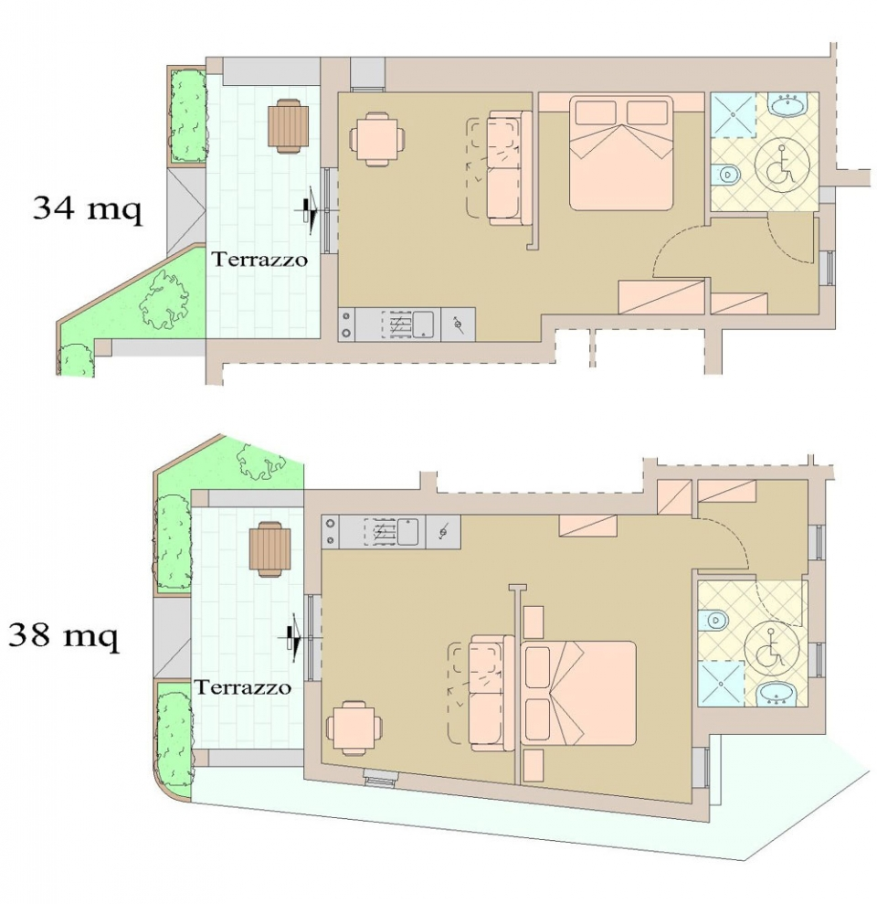 GROUND LARGE -ACCESSIBILE- - 2+1 PAX - 34/38 mq - Residence Fiesole